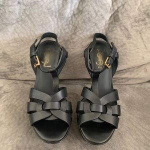 Black Yves St Laurent Strappy Heels